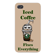 "Apple iPhone Custom Case 4 4S White Plastic Snap On - ""Iced Coffee Fixes Everything"" Food Humor Cartoon"