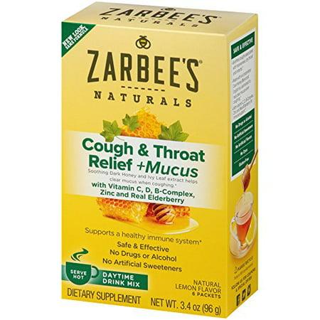 Zarbee's Naturals Cough & Throat Relief + Mucus Daytime Drink Mix with Dark Honey, Vitamin C, D, B-Complex, Zinc, and Real Elderberry, Natural Lemon Flavor , 6