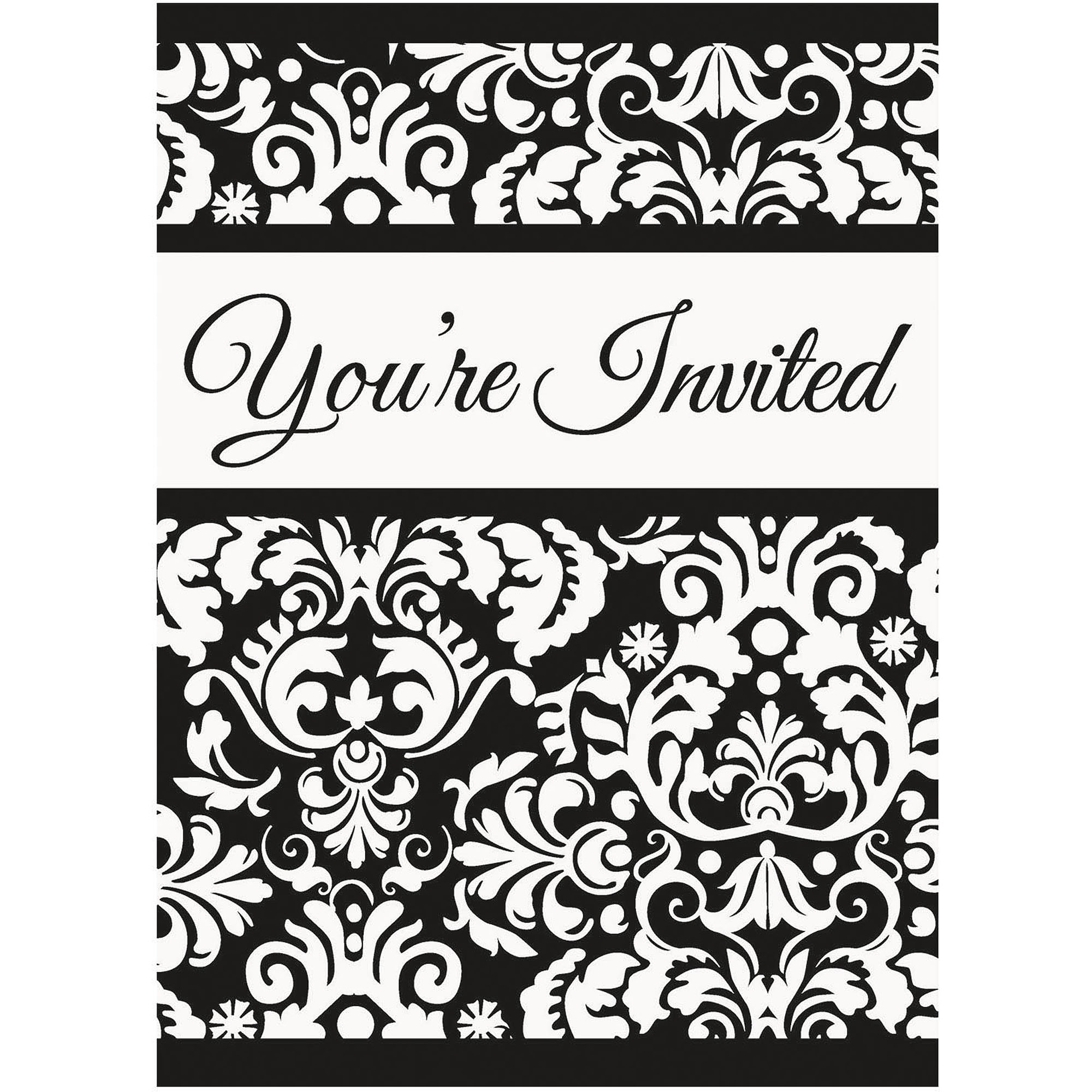Black Damask Invitations, 8pk