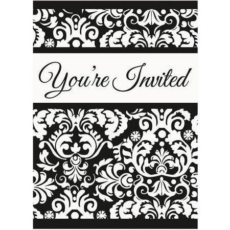 black damask invitations 8pk walmart com