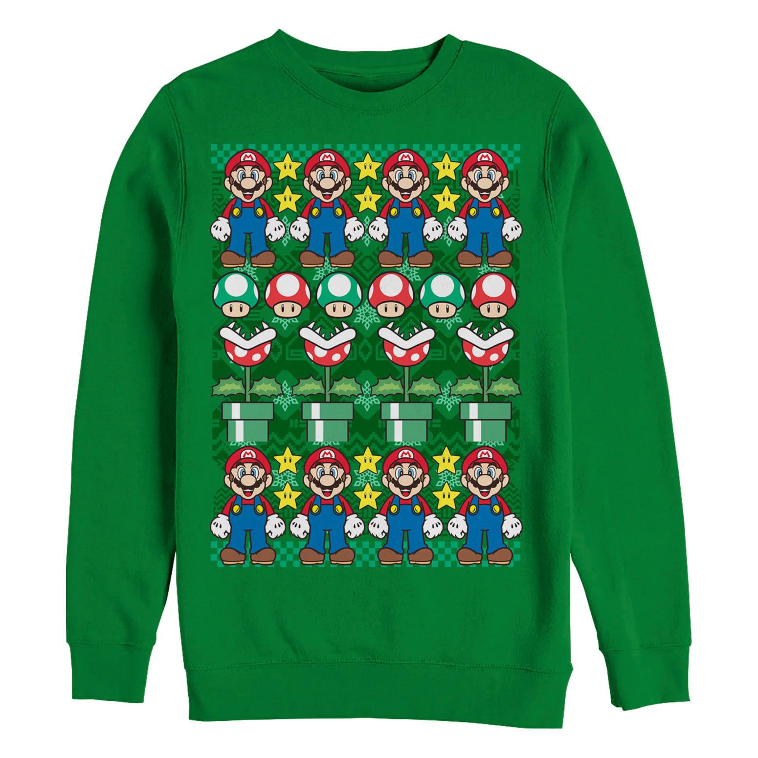 Nintendo Nintendo Mens Ugly Christmas Sweater Mario Sweatshirt
