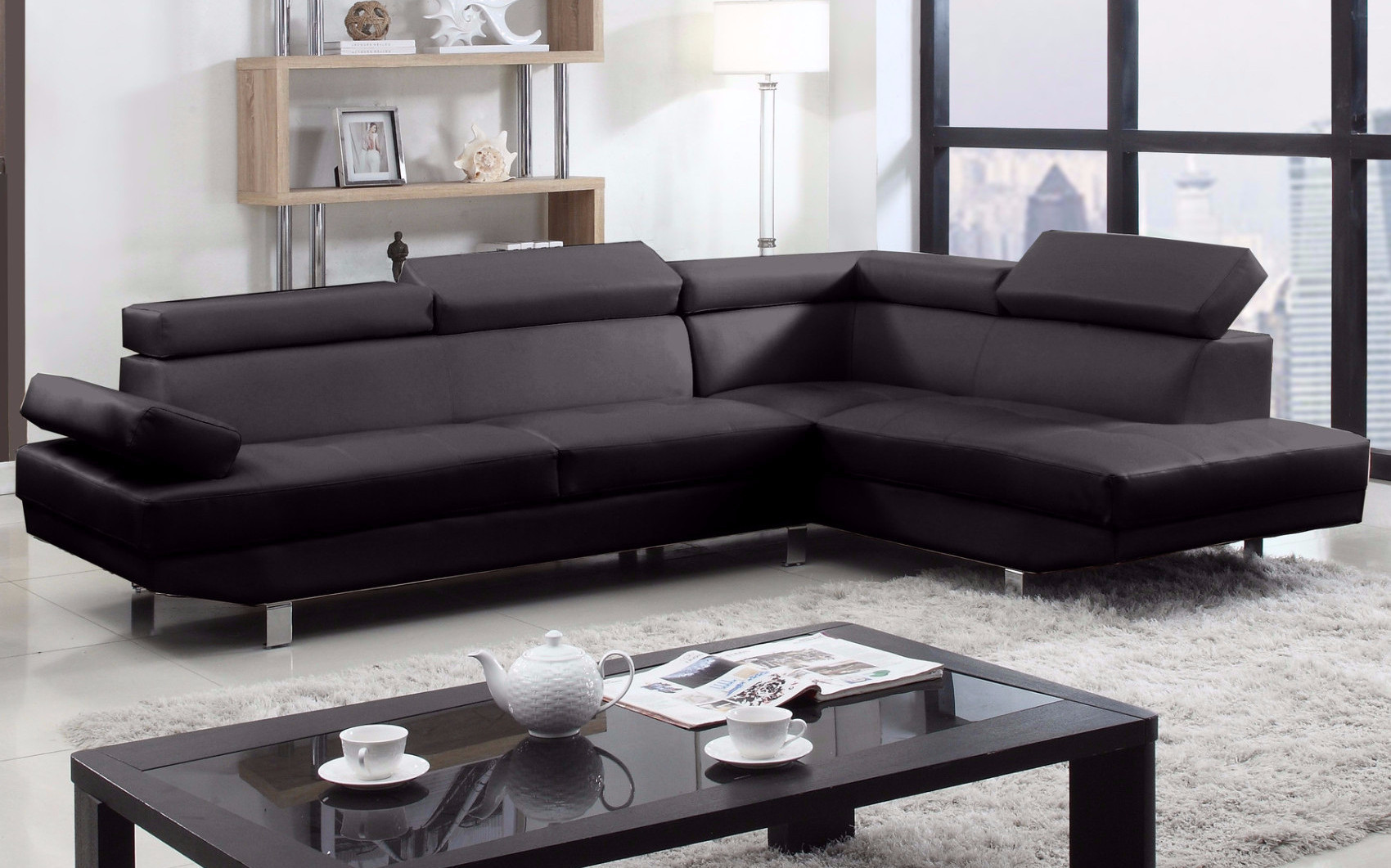 2 Piece Modern Bonded Leather Right Facing Chaise Sectional Sofa by