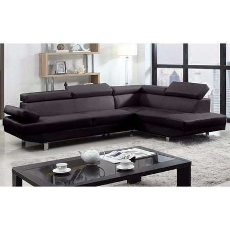 2 Piece Modern Bonded Leather Right Facing Chaise Sectional (2 Piece Modern Sectional)