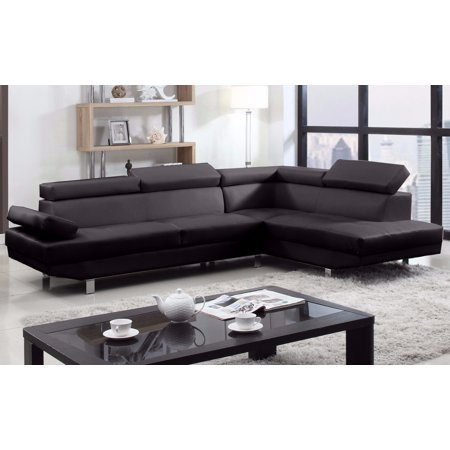 2 Piece Modern Bonded Leather Right Facing Chaise Sectional Sofa ...