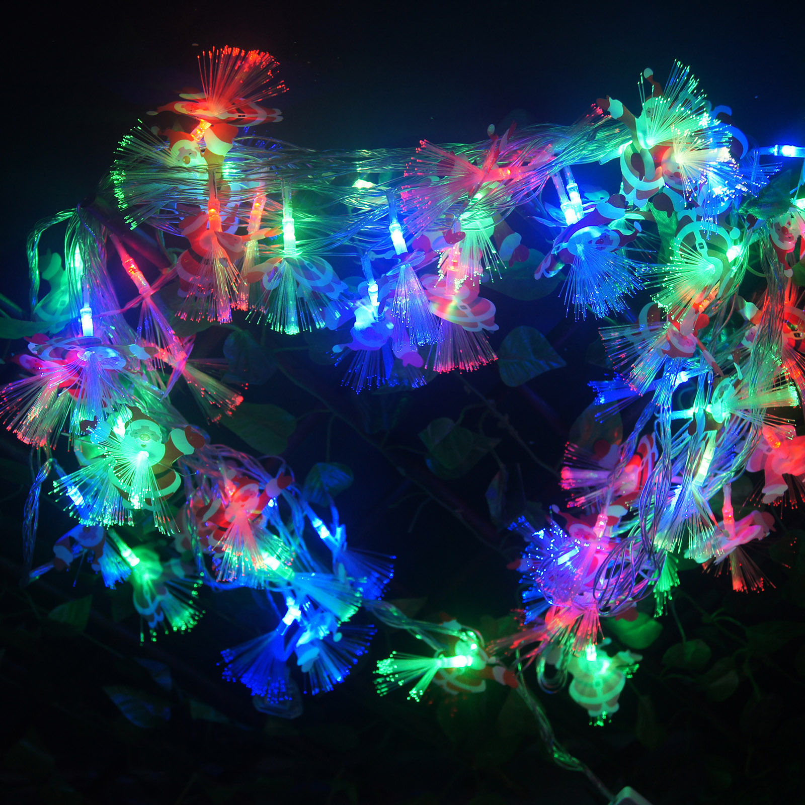 NEW Santa Claus Shaped Fiber Optic Fairy Light Wedding Party Decor US SHIPPING (Muti-color)