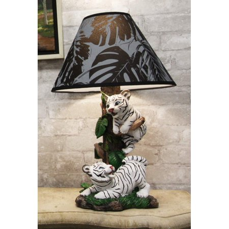 Ebros Tropical Jungle Frolic Climbing Bengal Tiger Cubs Desktop Table Lamp Statue with Monstera Leaves Print Fabric Shade Tiger Home Decor Lighting Accent As Forest Large Cats (Siberian Albino White)