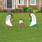 Holy Nativity - Outdoor Lawn Sign Decorations with Stakes - Manger Scene Religious Christmas Yard Display - 3 Pieces