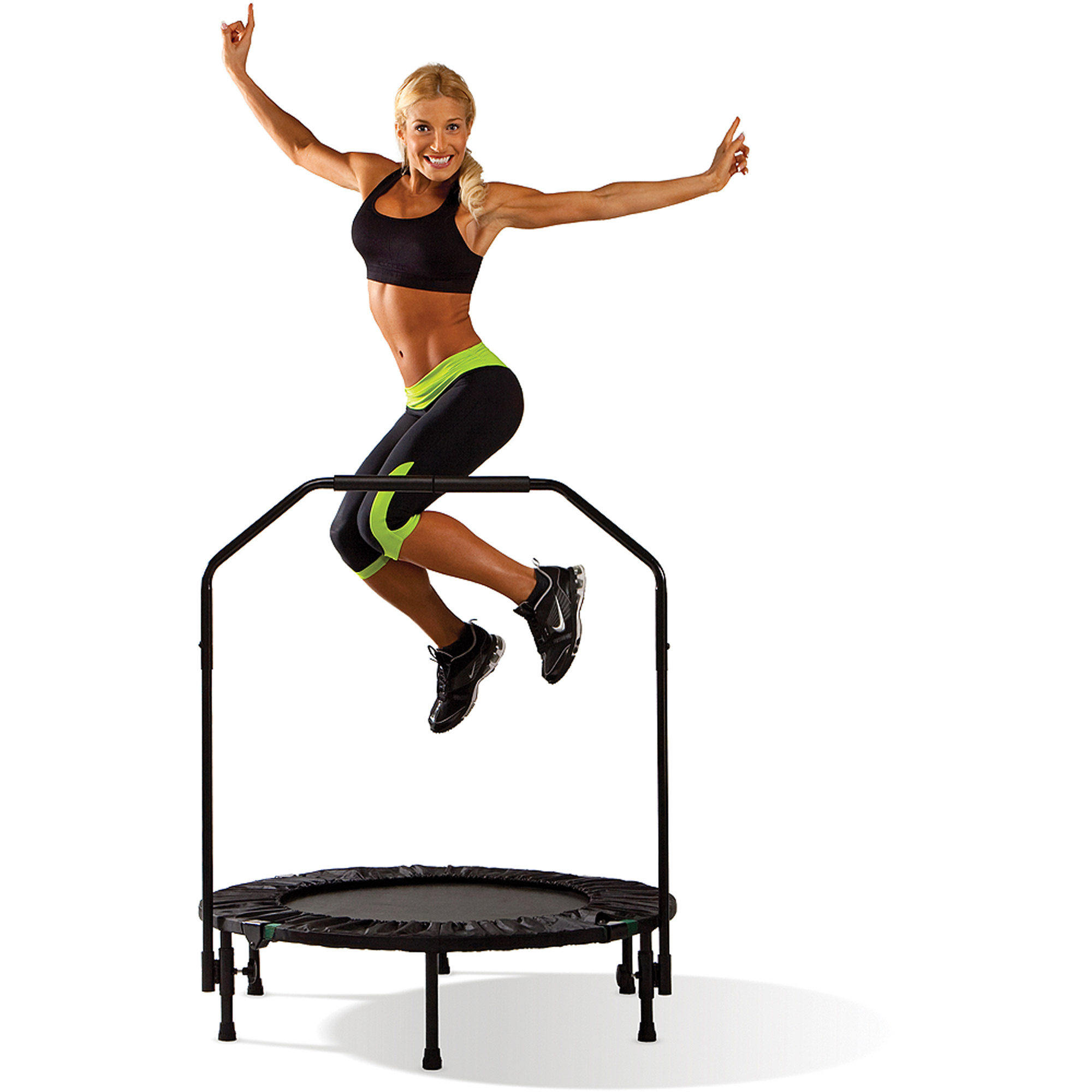 Marcy 40-Inch Trampoline Cardio Trainer, with Handrail, Black