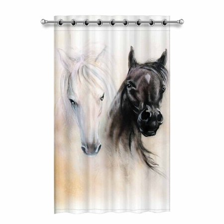 Horse Curtains For Bedroom.Mkhert Black And White Horse Blackout Window Curtain Drapes Bedroom Living Room Kitchen Curtains 52x84 Inch