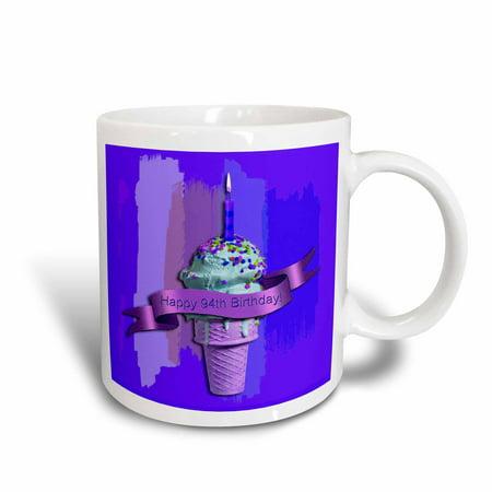 3dRose Happy 94th Birthday Strawberry Ice Cream Cone On Abstract Purple Ceramic Mug