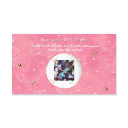 Pink Twinkle Little Star - Party Game Scratch Off Cards - 22 Count - Little Kid Games For Halloween Party