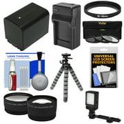 Essentials Bundle for Sony Handycam HDR-PJ540, HDR-PJ670 & HDR-PJ810 Camcorders with LED Light + NP-FV70 Battery & Charger + Flex Tripod + 2 Tele/Wide Lens Kit