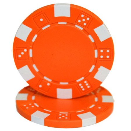 25 ClayWalmartposite Dice Striped 11.5 gram Poker Chips, Orange, Orange Chips By Las Vegas Poker - Vegas Golf Game Poker Chips
