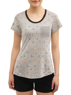 83cbe90a010db Product Image Juniors' All Over Printed Contrast Ringer Pocket T-Shirt