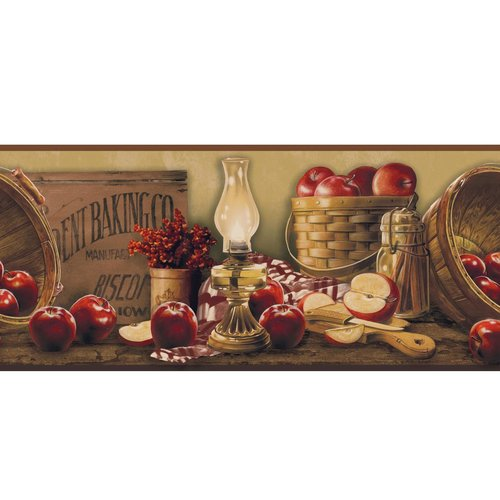 York Wallcoverings Book Apple Basket 15' x 9'' Wallpaper Border
