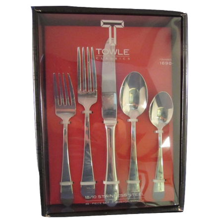 Towle 5192140 Boston Antique 45-Piece 18/10 Stainless Steel Flatware Set with Hostess Serveware, Service for 8 ()