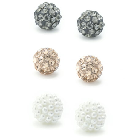 Marisol & Poppy Fine Sterling Silver Pave Crystal and Caviar Pearl Trio Earring - Silver Caviar