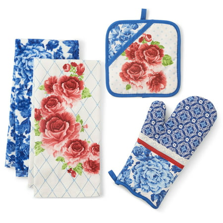 The Pioneer Woman Heritage Floral Kitchen Towel, Oven Mitt, and Pot Holder, Set of