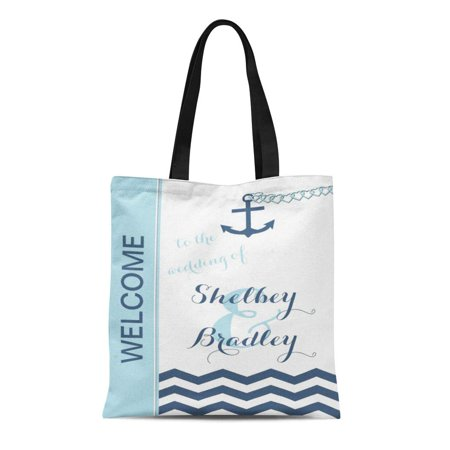 ASHLEIGH Canvas Tote Bag Monogram Nautical Wedding Welcome Personalized Hotel Guest Out Town Reusable Handbag Shoulder Grocery Shopping Bags - Hotel Welcome Bags