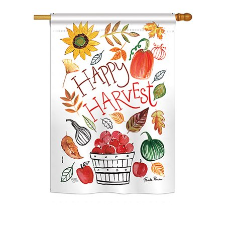 "Image of ""Breeze Decor - Happy Harvest Fall - Seasonal Harvest & Autumn Impressions Decorative Vertical House Flag 28"""" x 40"""" Printed In USA"""