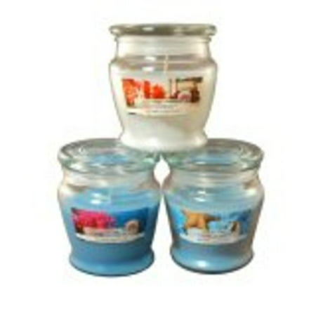 Set of 3 Summer Fresh Pacific Breeze, Aqua Coral and Paradise Reef Scented Jar Candles