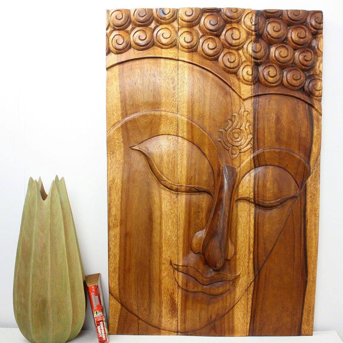 Haussmann Handmade Monkey Pod Wood Walnut Oil Ushnisha Buddha Panel (Thailand)