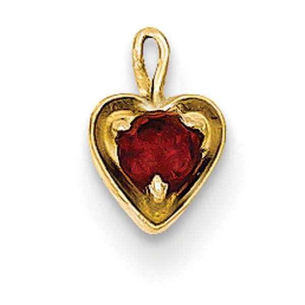 Cubic Zirconia Birthstone Heart 14K Yellow Gold Charms
