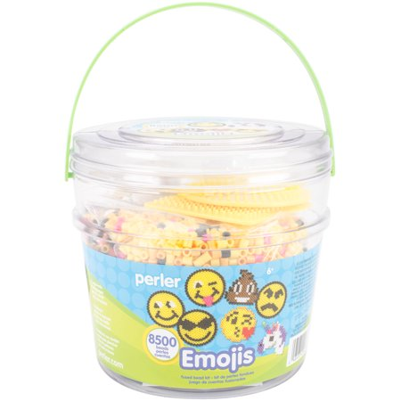 Perler Fused Bead Emoji Bucket Kit: Contains 8500 Beads, 2 Pegboards and More