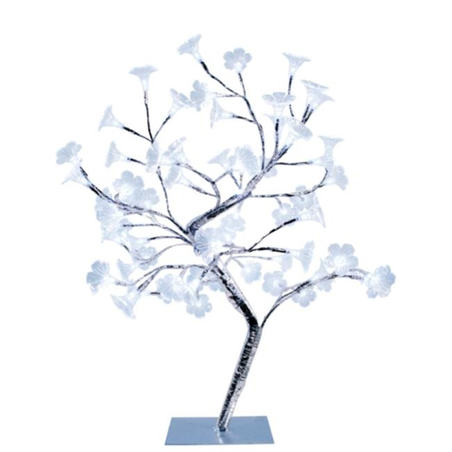 Small Morning Glory LED Lighted Decorative Tree - White