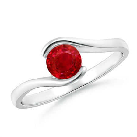 July Birthstone Ring - Semi Bezel-Set Solitaire Round Ruby Bypass Ring in 14K White Gold (5mm Ruby) - SR0427R-WG-AAA-5-4.5