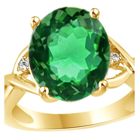 Emerald Cut Accent (Simulated Oval Cut Green Emerald With Diamond Accent Ring In 14K Yellow Gold Over Sterling Silver By Jewel Zone US)