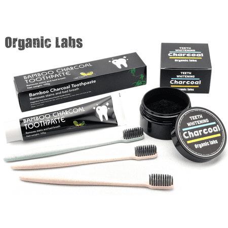 Teeth Whitening Bundle - Bamboo Charcoal Toothpaste + Activated Coconut Charcoal Powder + 3 Wheat Straw - Bamboo Whitening Toothpaste