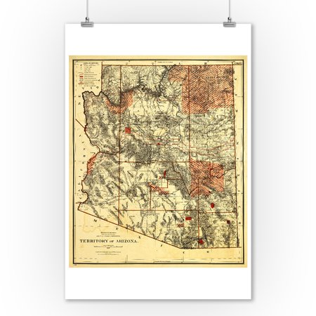 - Arizona Territory - (1887) - Panoramic Map (9x12 Art Print, Wall Decor Travel Poster)