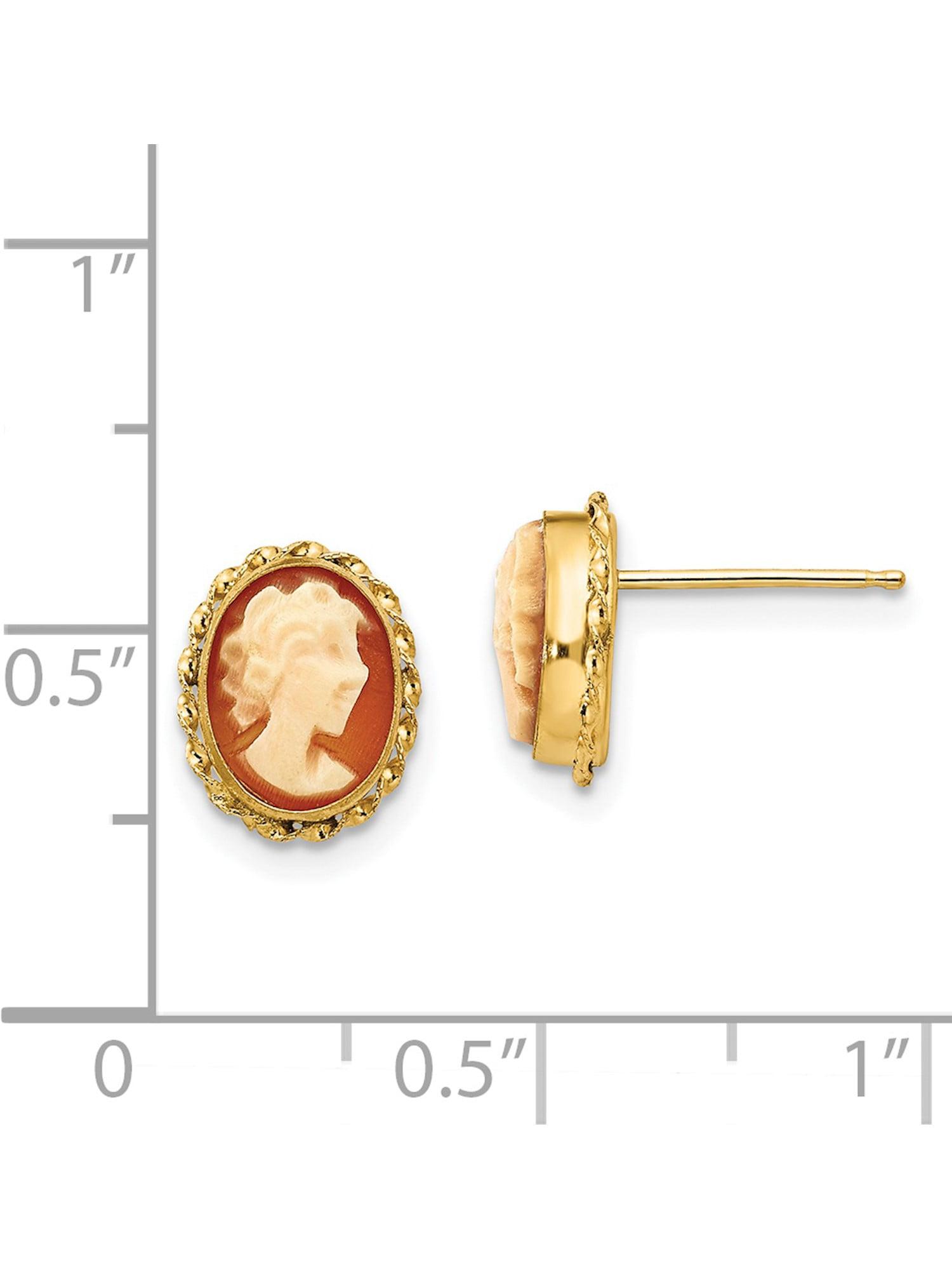 14kt Yellow Gold Madi K Cameo Post Earrings