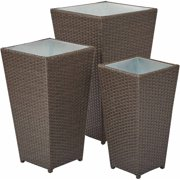 OSP Designs, Outdoor 3pc Steel and Ratan Nesting Planter Stand Set