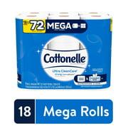 Cottonelle Ultra CleanCare Strong Toilet Paper, 18 Mega Rolls, Bath Tissue
