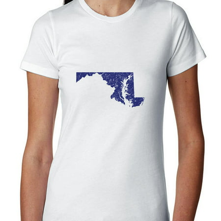 Maryland Blue Democratic   Election Silhouette Womens Cotton T Shirt