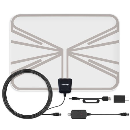 60 Miles HDTV Antenna, Fosmon Indoor Ultra Thin HDTV Antenna with Built-in Amplifier Signal Booster and High Signal Capture of 16.4ft Coaxial Cable (Clear)