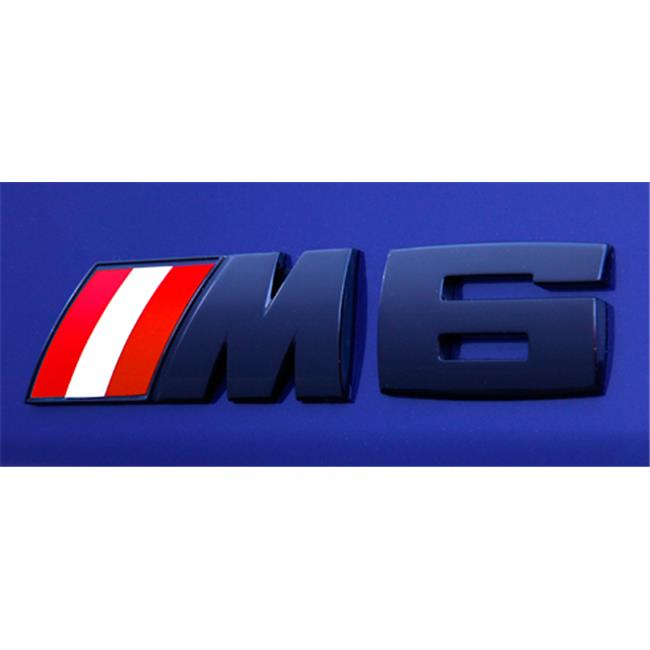 Bimmian CLM63MCAT Colored M Stripe Overlays- For E63 M6 OEM Logo Only- Austria Flag Colors
