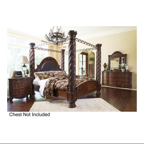 Ashley  North Shore B55315015116217219913136193 4-Piece Bedroom Set with King Poster Bed  Dresser  Mirror and