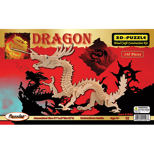 Puzzled 3D Puzzle Wood Craft Construction Kit, Dragon