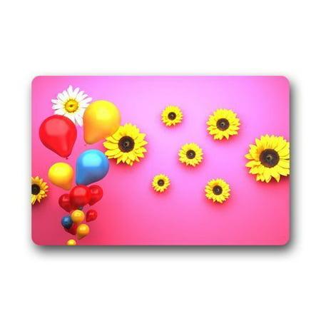 WinHome Balloons with Sunflowers Doormat Floor Mats Rugs Outdoors/Indoor Doormat Size 23.6x15.7 inches - Sunflower Balloon