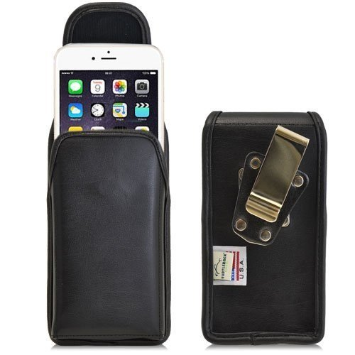 Turtleback Belt Case made for Applie iPhone 6 (4.7) Black Vertical Holster Leather Pouch with Heavy Duty Rotating Ratcheting Belt Clip Made in USA