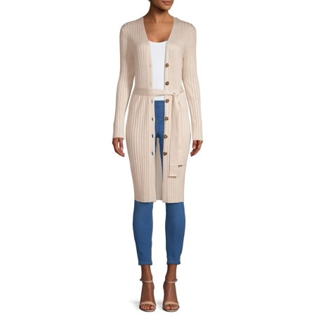 - Women's Long Sleeve Button Front Rib Cardigan with Belt