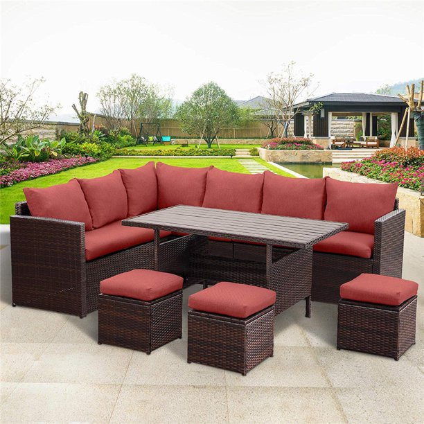 7 Piece Outdoor Conversation Set All, Outdoor Sectional Couch With Dining Table
