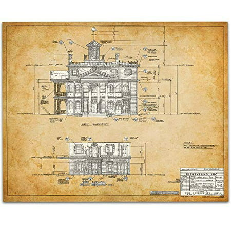 The Haunted Mansion Disneyland - East Side Blueprint - 11x14 Unframed Art Print - Great Gift for Disney Fans](Disney Personalized Gifts)