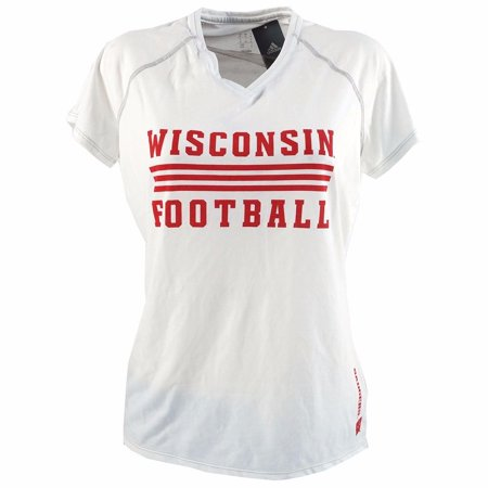 Wisconsin Badgers NCAA Adidas Women's White Football CLIMALITE Short Sleeve  T-Shirt ()