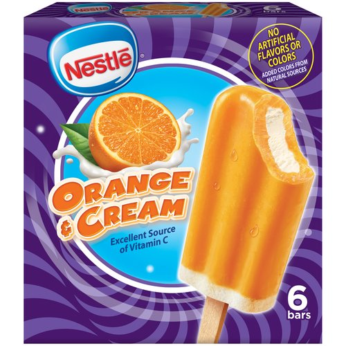 Nestle Orange & Cream Frozen Dairy Dessert Bars, 6 count, 16.1 fl oz