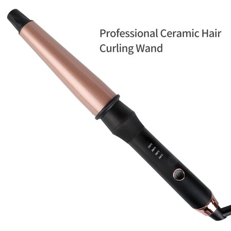 """Professional Curling Wand, 1-1½"""" Hair Curler for Beach Waves Loose Curls with Protective Glove, Tourmaline Ceramic Curling Iron with Dual Voltage for Travelling UK Plug"""