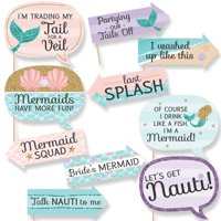 Funny Trading The Tail For A Veil - Mermaid Bachelorette Party or Bridal Shower Photo Booth Props Kit - 10 Piece